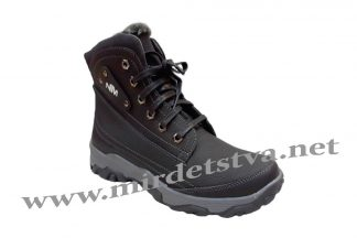 Подростковые кожаные зимние черные ботинки для мальчика