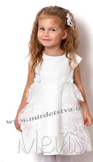 Белое нарядное пышное платье на девочку Mevis 2567-01
