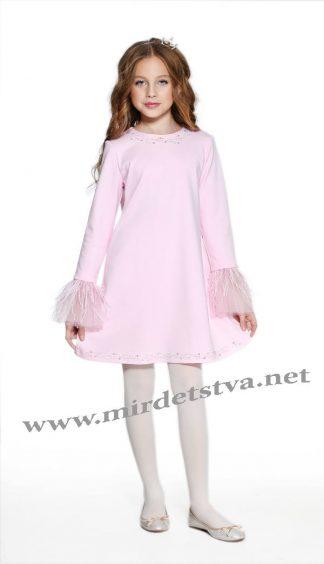 Модное нарядное платье с перьями Lukas 8529