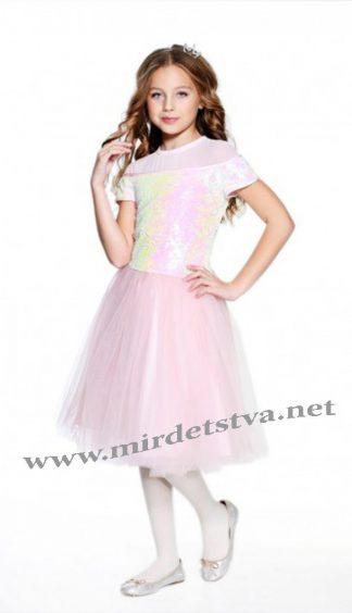 Нарядное блестящее платье для девочки с пайетками Lukas 8152