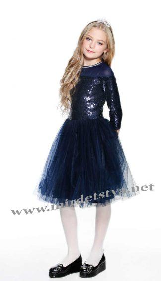 Синее нарядное платье с пайетками Lukas 8544