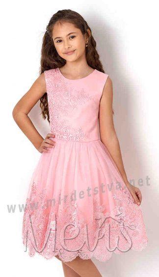 Розовое нарядное платье на девочку Mevis 2665-01