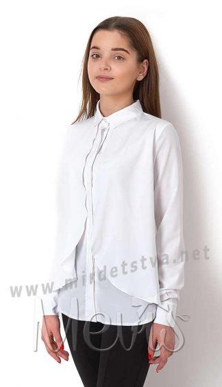 Белая блузка из шифона для девочки Mevis 2689-02