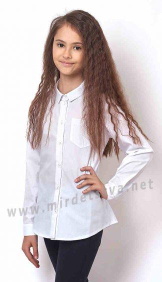 Белая блузка рубашка для девочек Mevis 2405-01