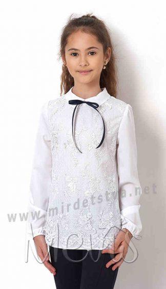 Белая блузка с кружевом Mevis 2755-02
