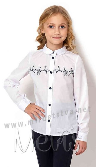 Блуза хлопковая с отложным воротником Mevis 2722-01
