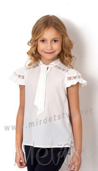 Блуза школьная белая с коротким рукавом Mevis 2715-02