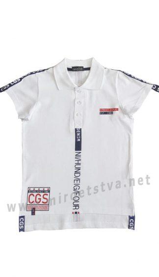 Детская белая футболка поло с надписями Cegisa 7087