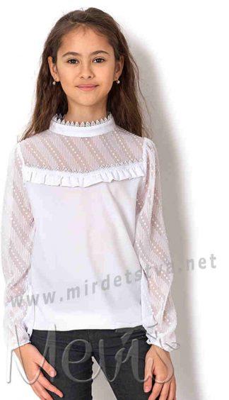 Красивая белая блузка с длинный рукавом Mevis 2686-02