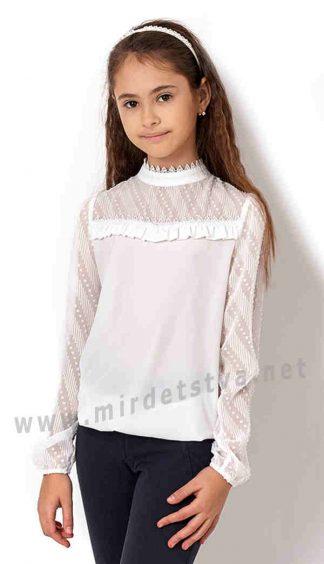 Красивая блузка молочного цвета для девочки Mevis 2686-01