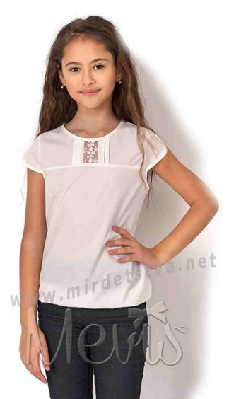 b563a148244 ... Кружевная блузка с коротким рукавом на девочку Mevis 2751-01