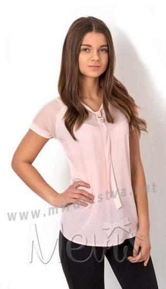 Персиковая шифоновая подростковая блузка Mevis 2669-03