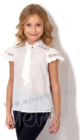 Шифоновая школьная блузка молочного цвета Mevis 2715-01