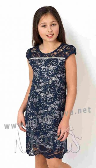 Синее нарядное платье с кружевом для девочки Mevis 2782-02