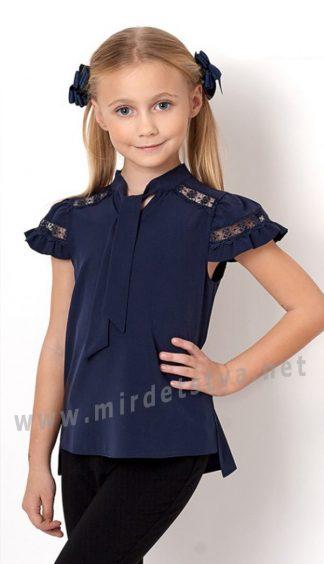 Синяя блузка для девочки в школу Mevis 2715-03