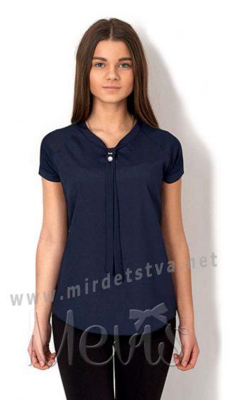 Синяя шифоновая блуза с коротким рукавом для девочки Mevis 2669-01