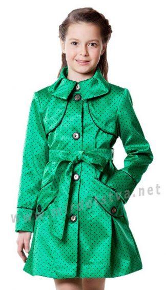 Плащ для девочки AlisaLine Хризантема Горох зеленый