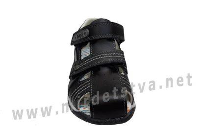 Черные детские кожаные сандалии на мальчика B&G BG190-928