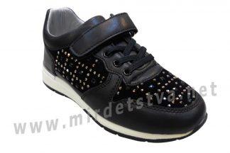 Черные кроссовки со стразами на липучке для девочек B&G DR19-03