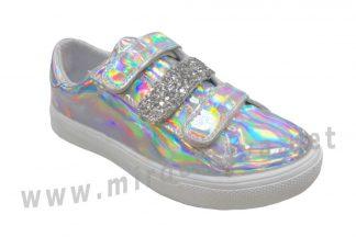 Детские кожаные голографические кроссовки на липучках Bistfor 97103/558/375