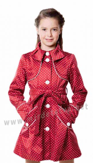 Детский тренч на подкладке AlisaLine Хризантема Горох красный