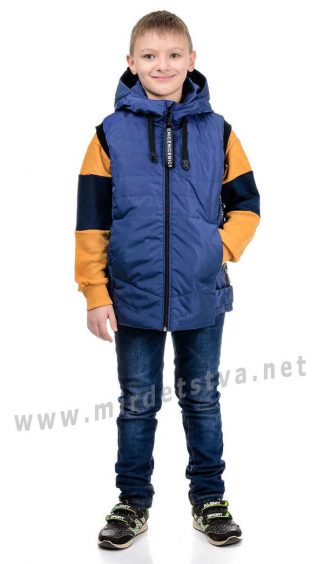 Модный демисезонный синий жилет унисекс Traveler Fashion