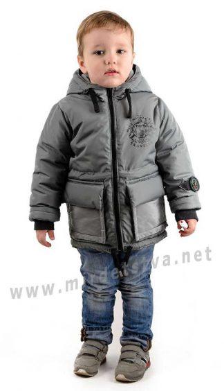 Осенне-весенняя серая куртка на мальчика Traveler Компас
