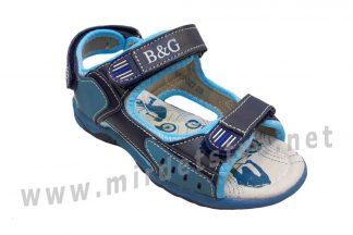 Открытые синие кожаные сандалии на мальчика B&G BG190-927
