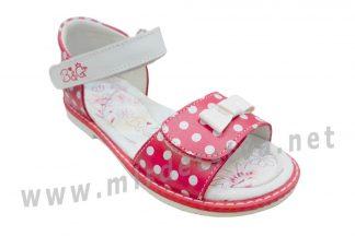 Розовые босоножки в белый горох на девочку B&G BG190-835