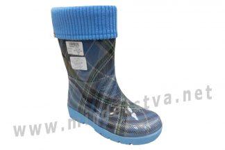 Утепленные резиновые сапоги AlisaLine Color401 Шотландка мини синяя
