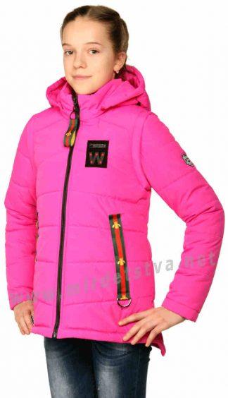 Яркая куртка - жилет фуксия для девочки подростка Nestta Layma