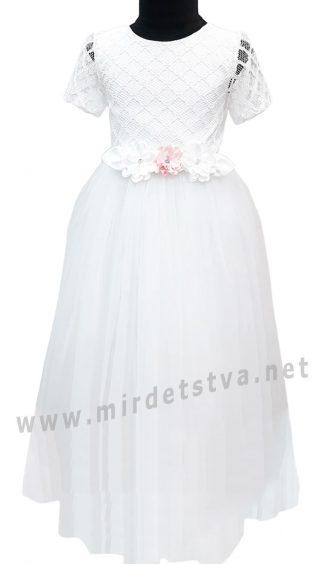Ажурное белое платье с длинной пышной юбкой для девочки Helena Kids РЦ