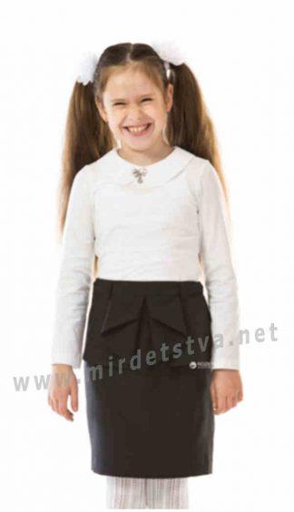 Белая трикотажная блуза с длинным рукавом на девочку KidsCouture 7171160169