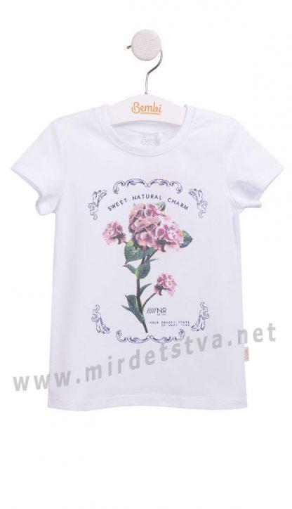Белая трикотажная футболка с рисунком Бемби ФБ628