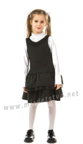 Черный полушерстяной сарафан в школу KidsCouture 7171670211