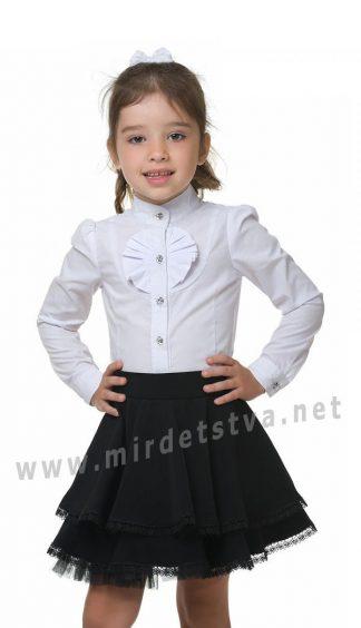 Красивая белая школьная блузка с воротником стойкой KidsCouture 51001587