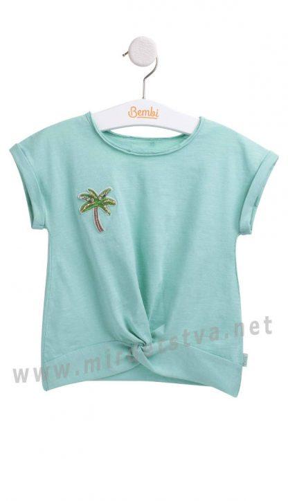 Красивая бирюзовая хлопковая футболка на девочку Бемби ФБ626