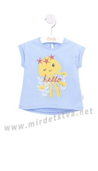 Красивая хлопковая футболка на маленькую девочку Бемби ФБ632