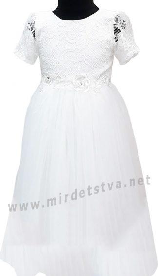 Кружевное белое детское платье с длинной пышной юбкой Helena Kids НБ
