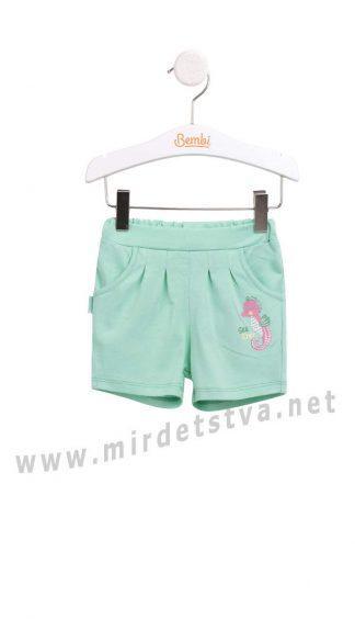 Летние трикотажные хлопковые шорты на девочку Бемби ШР530
