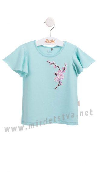 Летняя футболка для девочек Бемби ФБ625 бирюзовая