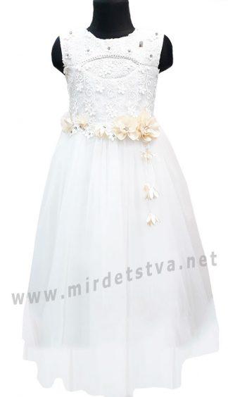 Подростковое нарядное приталенное платье с гипюром и пышной длинной юбкой Helena Kids Miss Rain 3518