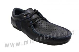 Синие кожаные мокасины со шнуровкой Golovin 336-2-17P