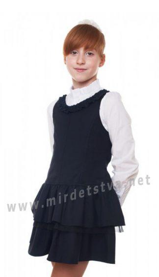 Синий полушерстяной сарафан с пышной юбкой в школу KidsCouture 7171671112