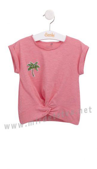Современная детская нарядная коралловая футболка Бемби ФБ626