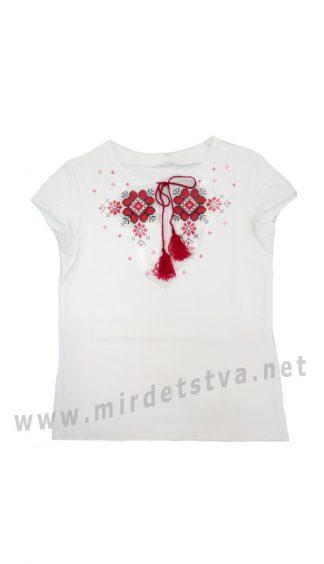 Трикотажная вышиванка с коротким рукавом для девочки Бемби ФБ340