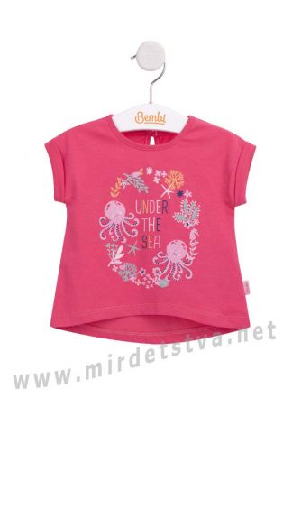 Яркая коралловая футболка для девочек Бемби ФБ632