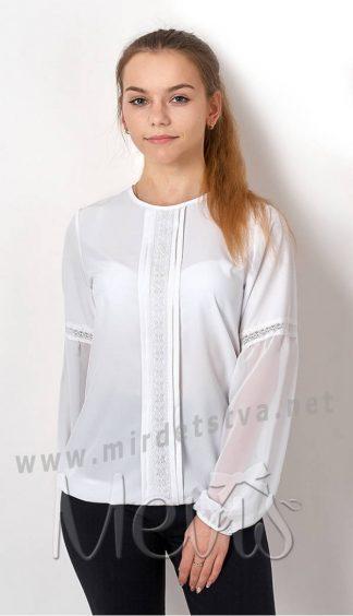 Белая блузка с длинный рукавом для девочки подростка Mevis 2768-01