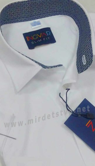 Белая рубашка с коротким рукавом INGVAR slim fit KR 1890