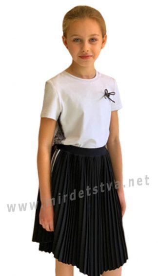 Черная плиссированная юбка с лампасами в школу Lukas 9237